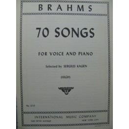 BRAHMS Johannes 70 Songs Chant Piano