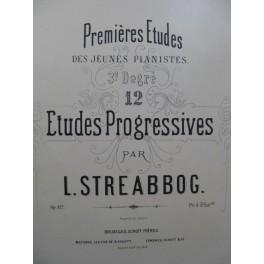 STREABBOG Louis 12 Etudes Progressives op 112 Piano ca1875