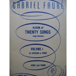 FAURÉ Gabriel Album of Twenty Songs Vol 1 Chant Piano 1945