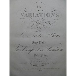 9 Variations sur l'air d'un Bouquet de Romarin Piano ca1810