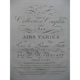 MOZART W. A. Airs Variés Ariette XI Piano ca1810