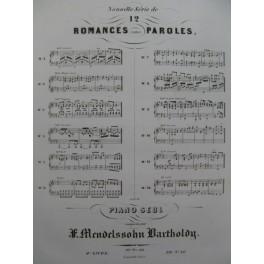 MENDELSSOHN 12 Romances op 71 et 84 Piano ca1852