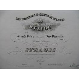STRAUSS Le Délire Valse Piano Violon Cornet à pistons ca1850