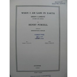 PURCELL Henry When I am Laid in earth Chant Piano