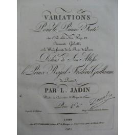 JADIN L. Variations sur Vive Henry IV Piano ca1820