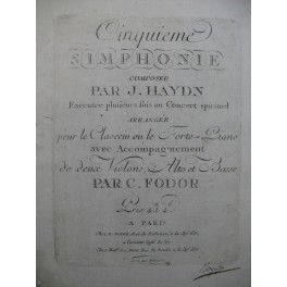 HAYDN Joseph Cinquième Simphonie Clavecin ou Piano ca1790