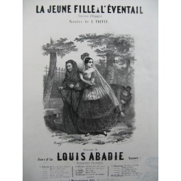 ABADIE Louis La Jeune Fille à l'Eventail Chant Piano ca1860
