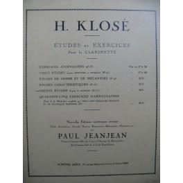 KLOSÉ H. Trente Études d'après H. Aumont Clarinette 1938