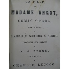 LECOCQ Charles La Fille de Madame Angot Opéra English Chant Piano XIXe