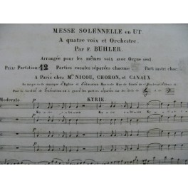 BUHLER Franz Messe Solennelle en Ut Chant Orgue ca1820