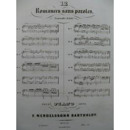 MENDELSSOHN 12 Romances op 9 et 19 Piano ca1852