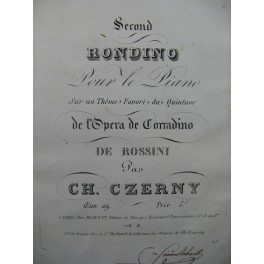 CZERNY Charles Second Rondino op 29 Piano ca1823