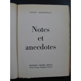 JANOPOULO Tasso Notes et Anecdotes 1957