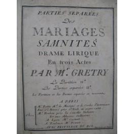 GRÉTRY Les Mariages Samnites Opéra Orchestre ca1776