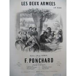 PONCHARD F. Les Deux Armées Chant Piano ca1850