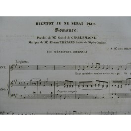 THÉNARD Etienne Bientôt je ne serai plus Chant Piano 1835