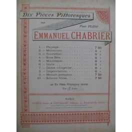 CHABRIER Emmanuel Pièces Pittoresques Piano ca1890