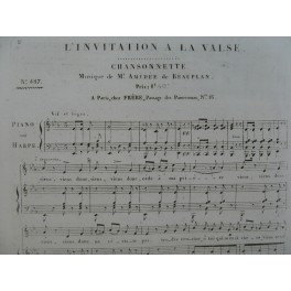 DE BEAUPLAN Amédée L'Invitation à la Valse Chant Piano ou Harpe ca1820