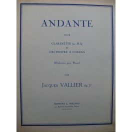 VALLIER Jacques Andante Clarinette Piano