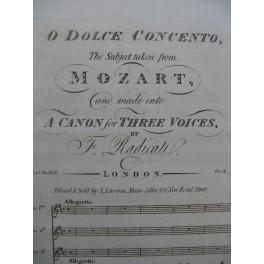 MOZART W. A. O Dolce Concento Canon Chant Piano ou Harpe ca1820
