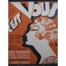 "GREENBERG Abner SILVER Abner RICHMAN Harry C'est Vous ""Say Voo"" It's You Chant Piano 1928"