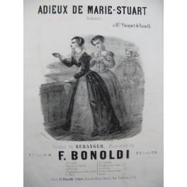 BONOLDI F. Adieux à Marie Stuart Chant Piano ca1850