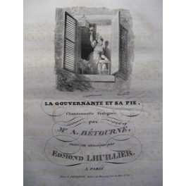 LHUILLIER Edmond La Gouvernante et sa Pie chant piano ca1830