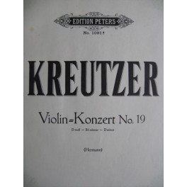 KREUTZER Rodolphe Concerto pour violon N° 19
