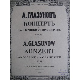 GLAZOUNOV Alexandre Concerto en Lam op. 82