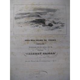 GRISAR Albert Adieu Beau Rivage Chant Piano ca1840