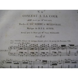 AUBER D. F. E. Concert à la Cour n° 4 Chant Piano ca1825