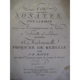 MAYER J. B. 3 Sonates Harpe Violon Violoncelle ca1780