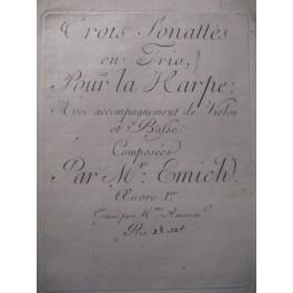 EMICH 3 Sonates Harpe Violon Violoncelle ca1775