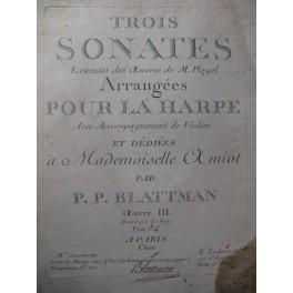BLATTMAN P. P. 3 Sonates Harpe XVIIIe