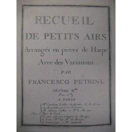 PETRINI Francesco Recueil Airs Harpe solo 1771