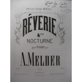 MELDER A. Rêverie Piano XIXe