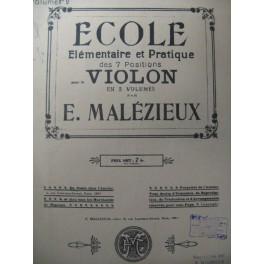 MALÉZIEUX E. Ecole pour le Violon Vol 2 1923