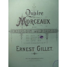 GILLET Ernest Pastorale Violon Piano ca1890