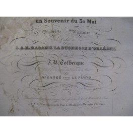 TOLBECQUE J. B. Souvenir du 30 Mai Piano 1837