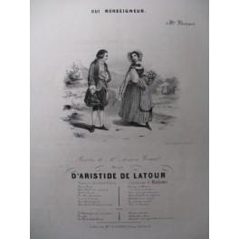 DE LATOUR Aristide Oui Monseigneur Chant Piano ca1840