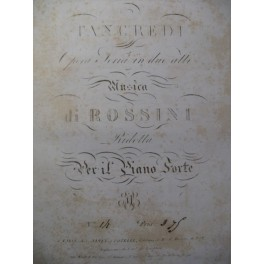 ROSSINI G. Tancredi Duetto Chant Piano ca1820