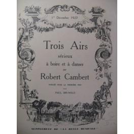 CAMBERT Robert Trois Airs Chant Piano 1927