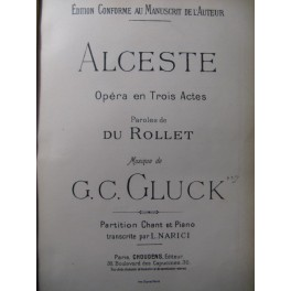 GLUCK C. W. Alceste Opéra Chant Piano 1904