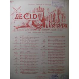 MASSENET Jules Le Cid Air de Rodrigue Chant Piano 1886