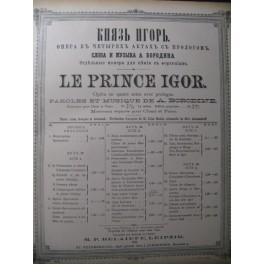 BORODINE Alexandre Le Prince Igor Opera 1889