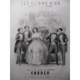 COUDER Les Coeurs d'Or Chant Piano 1850