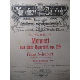 SCHUBERT Franz Quatuor op. 29 Menuet Violon Piano