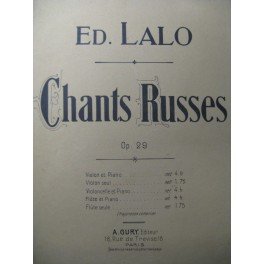 LALO Edouard Chants Russes Violon Piano