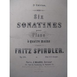 SPINDLER Fritz Sonatine n° 6 Piano 4 mains 1863