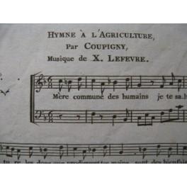 LEFEVRE Xavier Hymne à l'Agriculture Chant Piano 1796